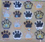 "16 x gold, silver & black foam dog paw craft stickers mixed  embellishment 0.75"" (1)"